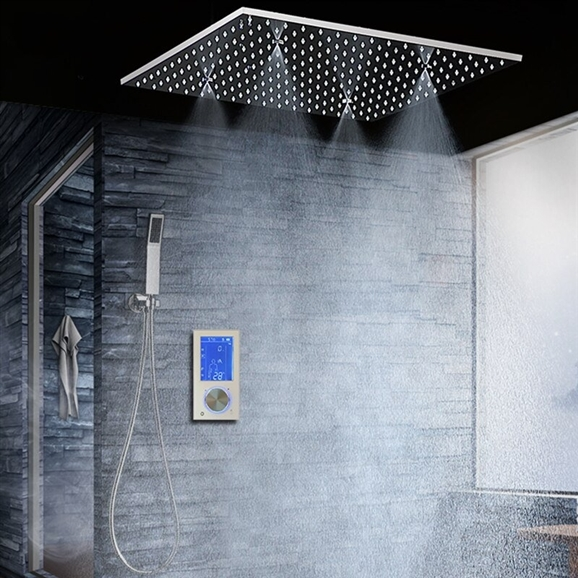 "BathSelect Ravenna Modern 20"" Digital Ceiling Mount Bathroom Shower Head"