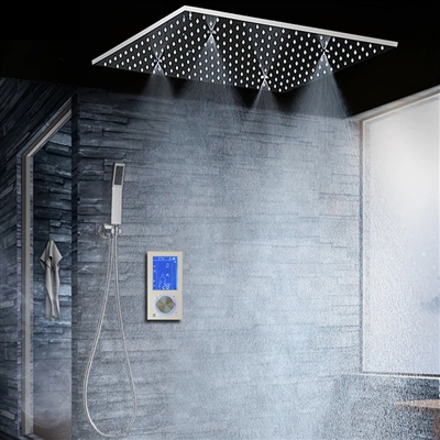 "BathSelect Modern 16"" Digital Ceiling Mount Bathroom Shower Head"