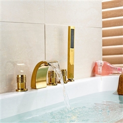 BathSelect Golden Deck Mount Bathtub Faucet With Hand-Held Shower