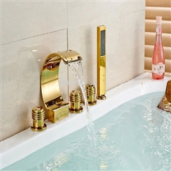 BathSelect Golden Three Handles Deck Mount Curved Faucet With Hand-Held Shower