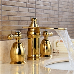 BathSelect Beautiful Deck Mount Faucet Golden Dual Handle