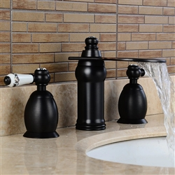 BathSelect Beautiful Deck Mount Faucet Black Dual Handle