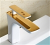 BathSelect Sleek Design White & Gold Combination Short Deck Faucet