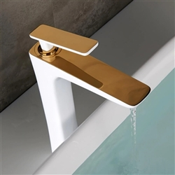BathSelect Sleek Design White & Gold Combination Long Deck Faucet