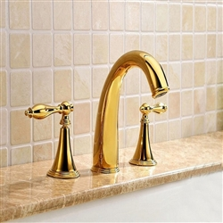 BathSelect Curved Stylish Sleek Gold Deck Mount Bathtub Faucet