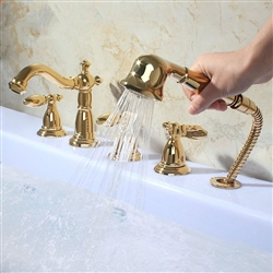 BathSelect Golden Roman Bathtub Faucet 5 Pieces