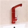 BathSelect Electric Red Deck Mount Single Handle Faucet