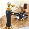 Bathselect Queen Golden Crown Black Deck Mount Faucet
