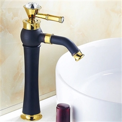 BathSelect Queen Golden Crown Long Black Deck Mount Faucet