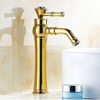 Bathselect Queen Golden Crown Gold Long Deck Mount Faucet
