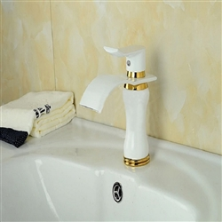 BathSelect Stylish Short Curve White Polished Deck Mount Faucet