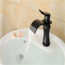 BathSelect Stylish Short Curve Black Polished Deck Mount Faucet