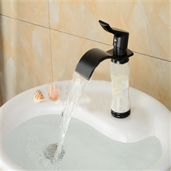 BathSelect Stylish Short Curve Ceramic Black Polished Deck Mount Faucet