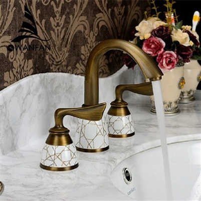 BathSelect Antique Brass Three Piece Sink Faucet