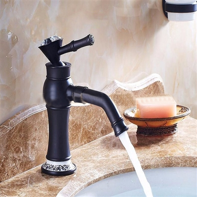 BathSelect Queen Black With Ceramic Crown Deck Mount Faucet