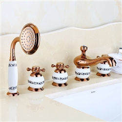 BathSelect Beautiful Classic Surface Mount Rose Gold Bathtub Faucet With Hand Held Shower