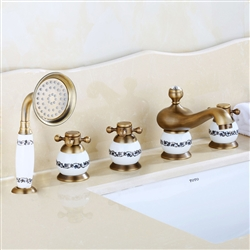 Bathselect Beautiful Classic Surface Mount Antique Brass Bathtub Faucet With Hand Held Shower