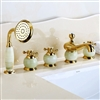 BathSelect Beautiful Classic Surface Mount Gold Bathtub Faucet With Hand Held Shower