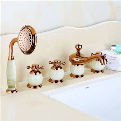 BathSelect Beautiful Classic Surface Mount Rose Gold With Ceramic Bathtub Faucet With Hand Held Shower