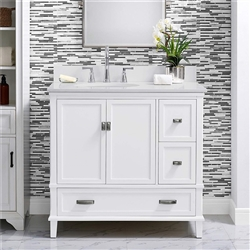 "BathSelect Elegant White 36"" Bathroom Vanity"