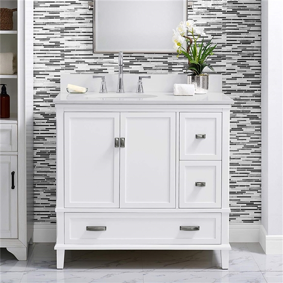 Buy Online Bathselect Elegant White 36 Bathroom Vanity