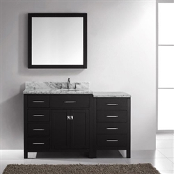 "BathSelect Amazing Espresso with Marble Top 54"" Bathroom Vanity Set  with Mirror"