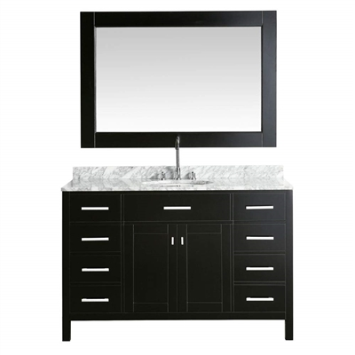 Bath Select Amazing Espresso With Marble Top 54 Bathroom Vanity Set With Mirror