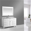 "Bathselect Amazing White with Marble Top 54"" Bathroom Vanity Set with Mirror"