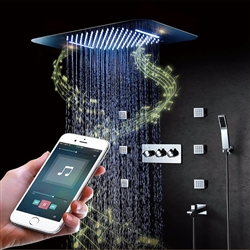 Bathselect Luxury Chrome Curved LED Showerhead Ceiling Phone Control With Jet Spray Set