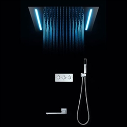 BathSelect Luxury Cool Rain Shower Head Chrome with Remote Control LED Automatic Color Switching Shower Set
