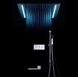 BathSelect Luxury Rain Shower Head Chrome With Sliding Bar Hand Held Shower & Automatic Color Switching