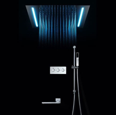 New Bathroom Handheld Mirror Shower Head Automatic Color Changing LED Rain
