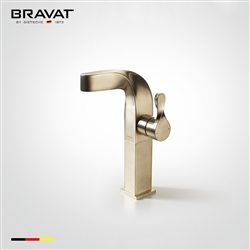 Bravat Single Handle High-Arch Swing Spout Metered Faucet Brush Nickel Finish