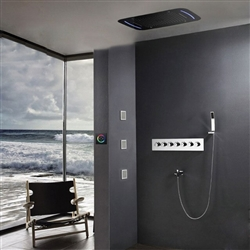 BathSelect Beautiful Touch Panel LED Shower Head with Thermostatic Valve Shower Set