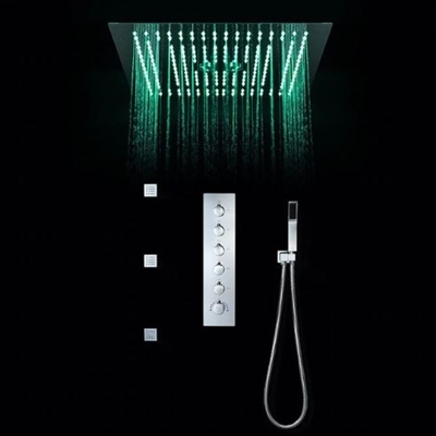 BathSelect Modern Design LED Rain Shower Head with Chrome Jet Spray