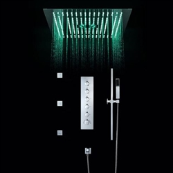BathSelect Modern Design LED Rain Shower Head with Chrome Jet Spray & Sliding Bar Hand Shower