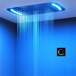 Bathselect Beautiful Curved LED Shower Head with 64 Manual Colors Shower Set