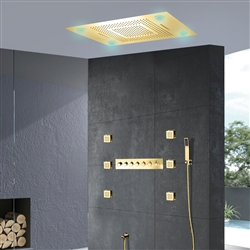 BathSelect Brushed Gold Romantic Environment LED Shower Head With Stress-Free Body Jet & Hand Held Shower