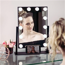 BathSelect Hottest LED Make-Up Multi Purpose Mirror With Touch Control & Phone Cradle- Black Vanity Mirror