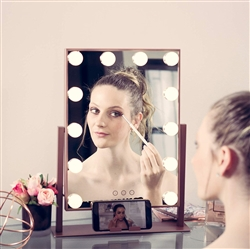 BathSelect Hottest LED Make-Up Multi Purpose Mirror With Touch Control & Phone Cradle- Rose Gold Vanity Mirror