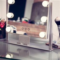 BathSelect Beautiful LED Make-Up Multi Purpose Mirror With Touch Control & Phone Cradle- Silver Vanity Mirror