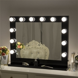 BathSelect Stylish Make-Over Rich Black Wall/Tabletop 14 Bulb-Vanity Mirror