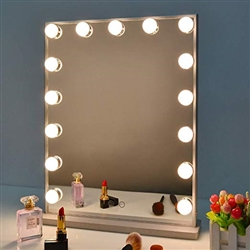 BathSelect Modern Beauty Make-Up Touch Control Mirror With 15 Bulbs-Cool/ Warm Light