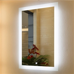 BathSelect Luxury Style Modern White LED Wall Mirror With Rectangular Frosted Strip