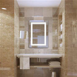 BathSelect Bright & Clear Reflection White LED Back light Wall Mirror With Silver Rectangular Frosted Strip