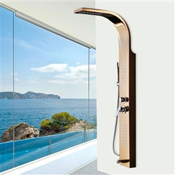 Albufeira Stainless Steel Gold Finish Shower Panel System with Rainfall Shower & Body Massage Jets