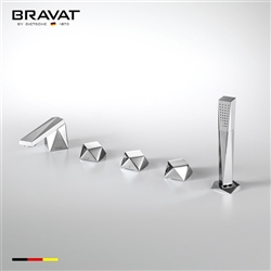 Bravat Triple Handle Solid Brass Chrome Finish Bathroom Faucet Mixer