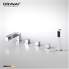 Bravat Triple Handle Bathtub Faucet With Handheld Shower