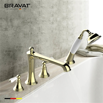 Bravat Golden White Water Mark Bathtub Shower Faucet Set