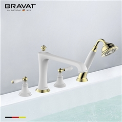 Bravat Gold White Deck Mount Bathroom Faucet With Hand Held Shower